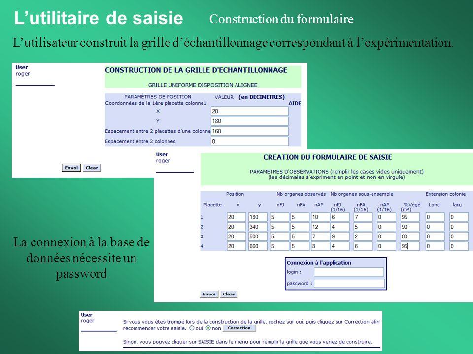 Lutilitaire de saisie Saisie à partir du formulaire Le formulaire de saisie correspond à la feuille de terrain et représente tous les organes observés, dans chaque placette.