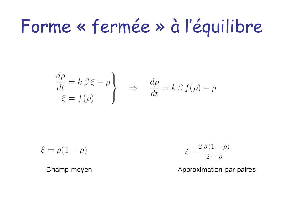 Forme « fermée » à léquilibre Champ moyenApproximation par paires