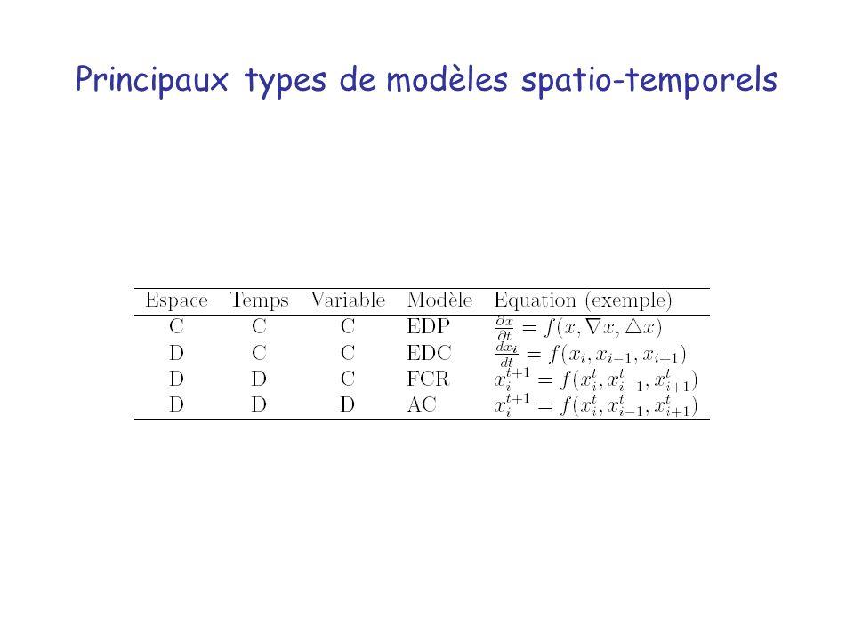 Principaux types de modèles spatio-temporels