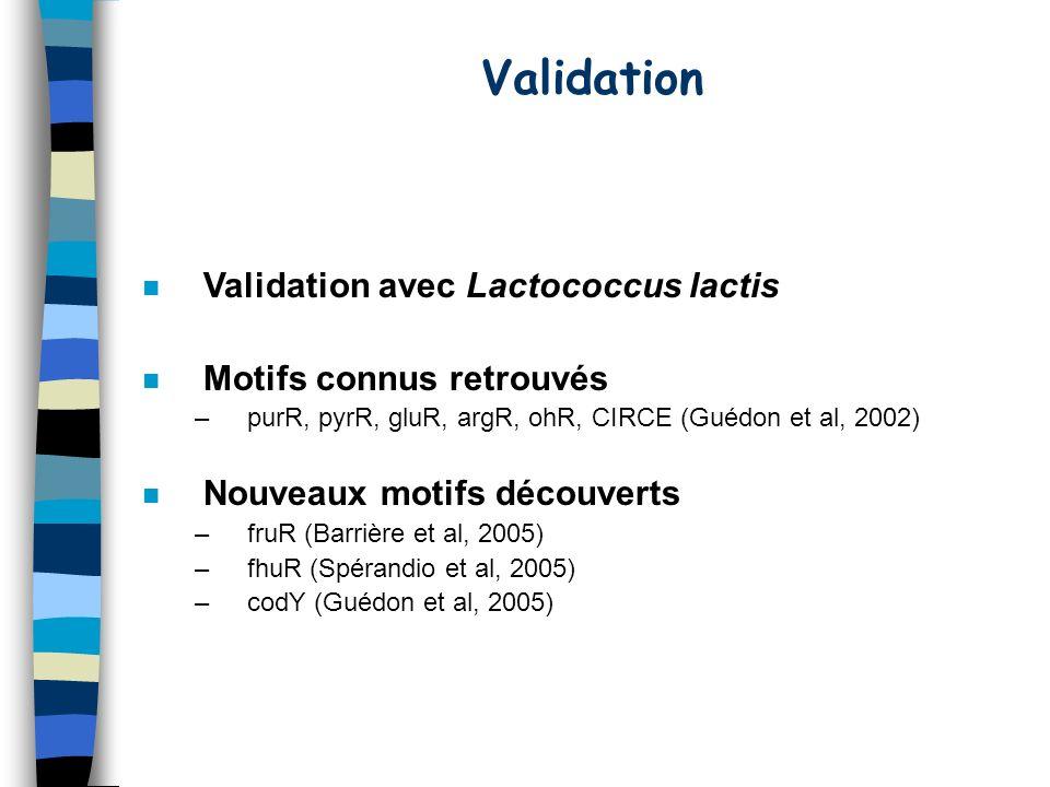 Validation n Validation avec Lactococcus lactis n Motifs connus retrouvés –purR, pyrR, gluR, argR, ohR, CIRCE (Guédon et al, 2002) n Nouveaux motifs découverts –fruR (Barrière et al, 2005) –fhuR (Spérandio et al, 2005) –codY (Guédon et al, 2005)