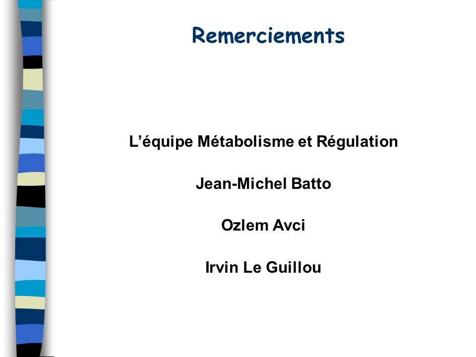 Remerciements Léquipe Métabolisme et Régulation Jean-Michel Batto Ozlem Avci Irvin Le Guillou
