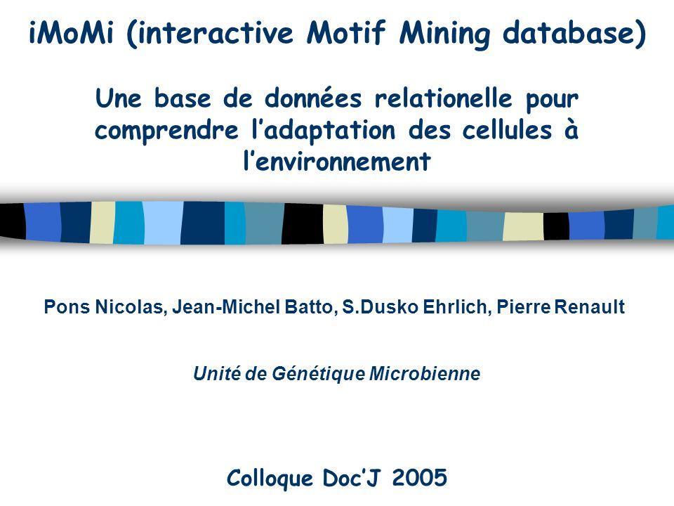 iMoMi (interactive Motif Mining database) Une base de données relationelle pour comprendre ladaptation des cellules à lenvironnement Pons Nicolas, Jean-Michel Batto, S.Dusko Ehrlich, Pierre Renault Unité de Génétique Microbienne Colloque DocJ 2005