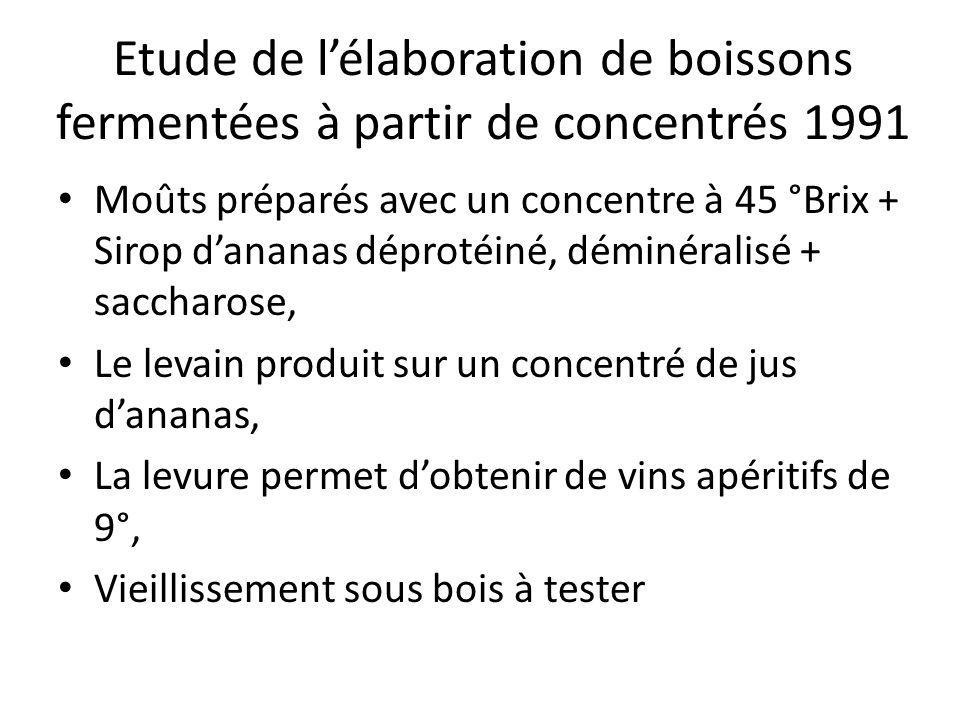 Etude de lélaboration de boissons fermentées à partir de concentrés 1991 Moûts préparés avec un concentre à 45 °Brix + Sirop dananas déprotéiné, démin