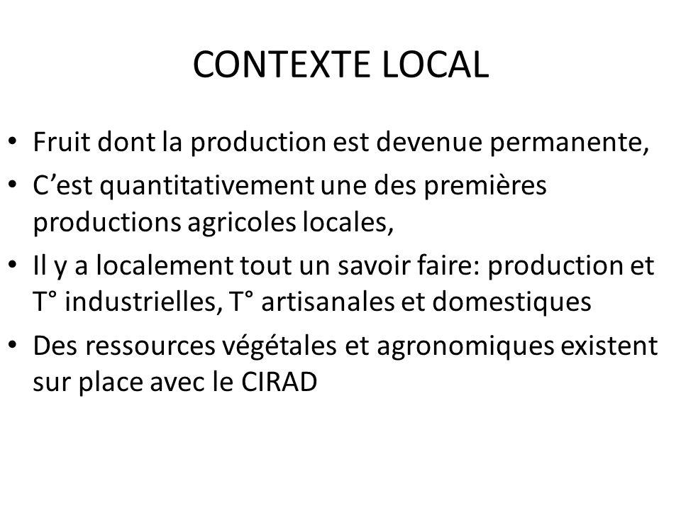 CONTEXTE LOCAL Fruit dont la production est devenue permanente, Cest quantitativement une des premières productions agricoles locales, Il y a localeme