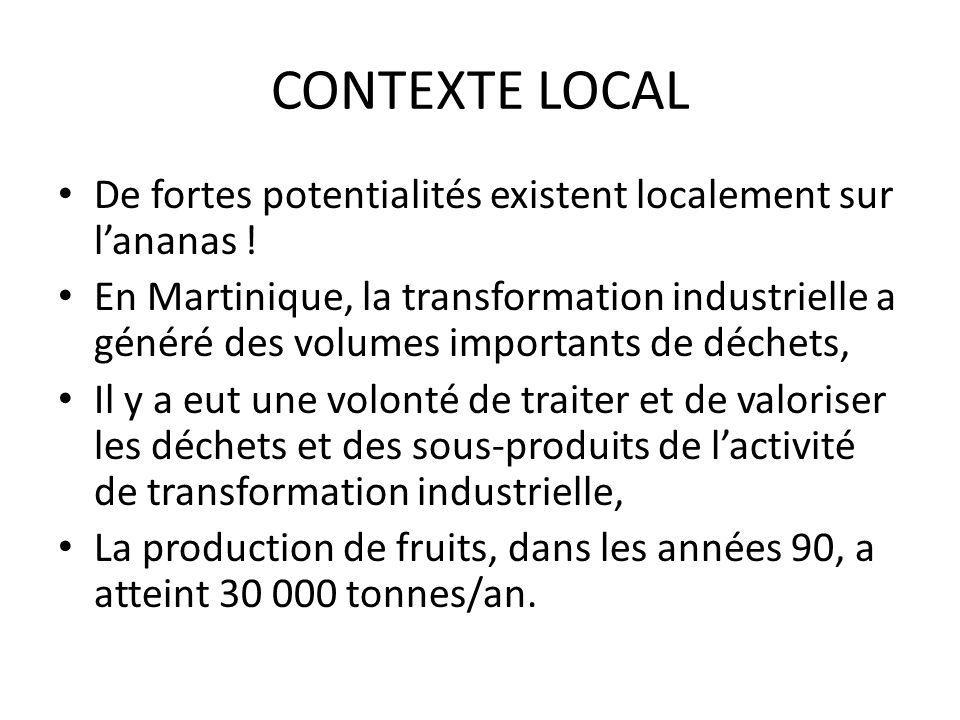 CONTEXTE LOCAL De fortes potentialités existent localement sur lananas ! En Martinique, la transformation industrielle a généré des volumes importants