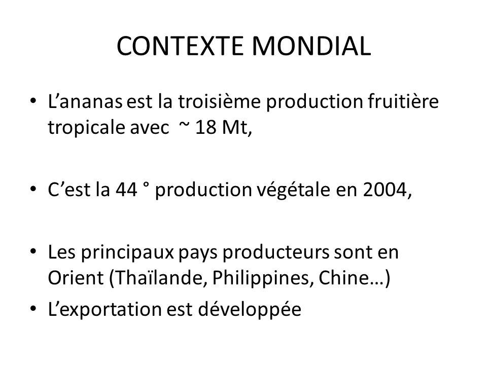CONTEXTE MONDIAL Lananas est la troisième production fruitière tropicale avec ~ 18 Mt, Cest la 44 ° production végétale en 2004, Les principaux pays p