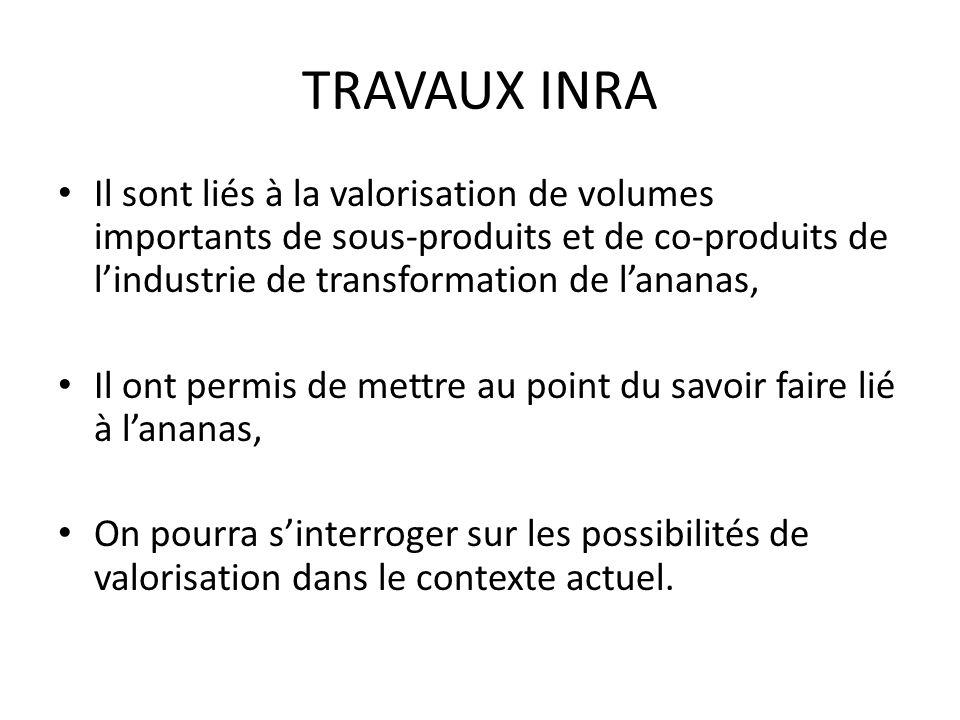 TRAVAUX INRA Il sont liés à la valorisation de volumes importants de sous-produits et de co-produits de lindustrie de transformation de lananas, Il on