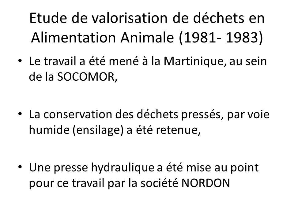 Etude de valorisation de déchets en Alimentation Animale (1981- 1983) PRESSAGE – Produits à 25,4 % de M.S.
