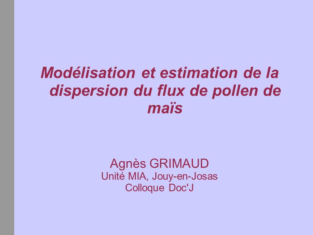 Modélisation et estimation de la dispersion du flux de pollen de maïs Agnès GRIMAUD Unité MIA, Jouy-en-Josas Colloque Doc'J
