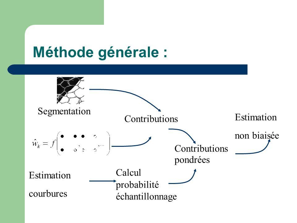 Méthode générale : Estimation non biaisée Estimation courbures Contributions Calcul probabilité échantillonnage Segmentation Contributions pondrées