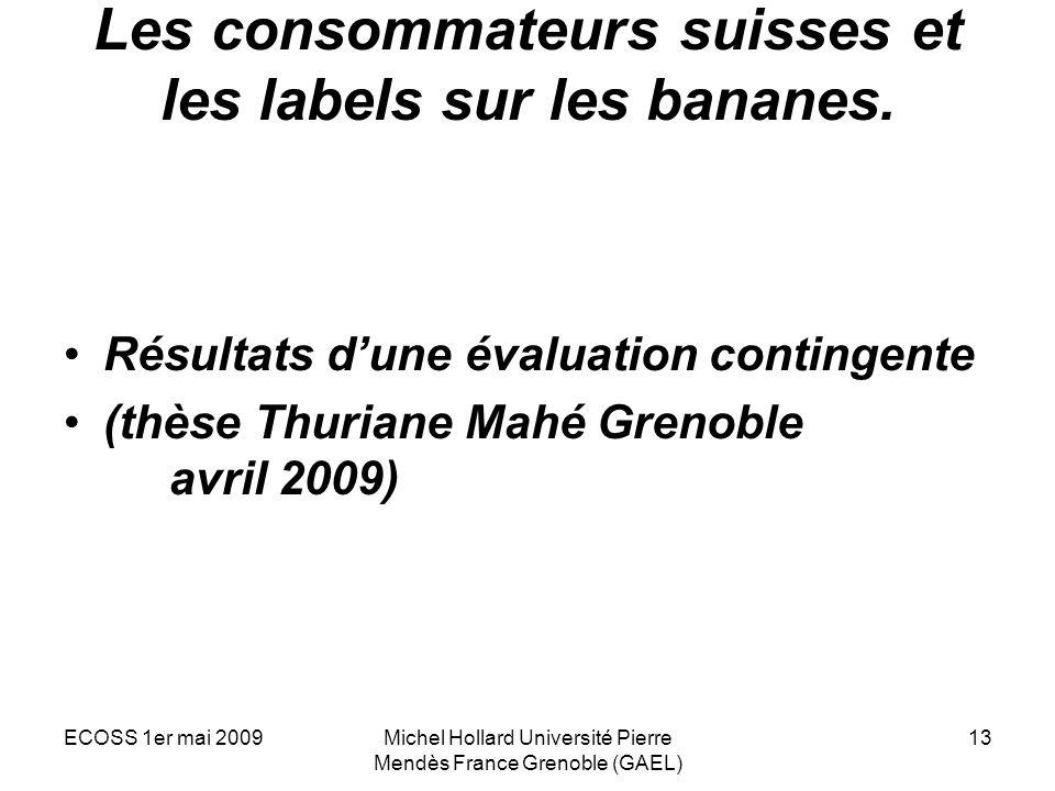 ECOSS 1er mai 2009Michel Hollard Université Pierre Mendès France Grenoble (GAEL) 13 Les consommateurs suisses et les labels sur les bananes. Résultats