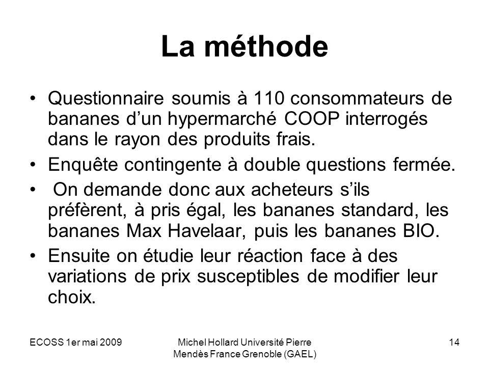 ECOSS 1er mai 2009Michel Hollard Université Pierre Mendès France Grenoble (GAEL) 14 La méthode Questionnaire soumis à 110 consommateurs de bananes dun