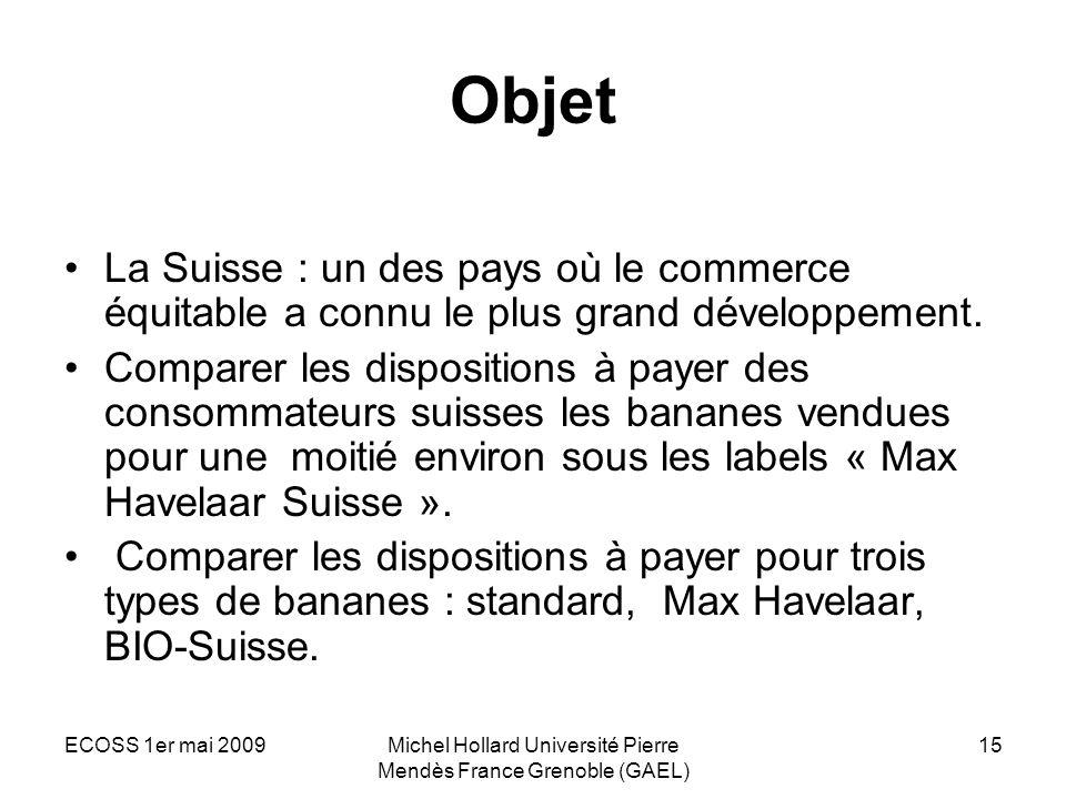ECOSS 1er mai 2009Michel Hollard Université Pierre Mendès France Grenoble (GAEL) 15 Objet La Suisse : un des pays où le commerce équitable a connu le