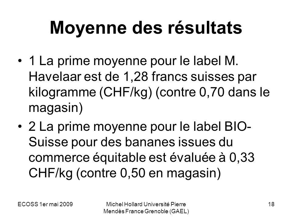 ECOSS 1er mai 2009Michel Hollard Université Pierre Mendès France Grenoble (GAEL) 18 Moyenne des résultats 1 La prime moyenne pour le label M. Havelaar