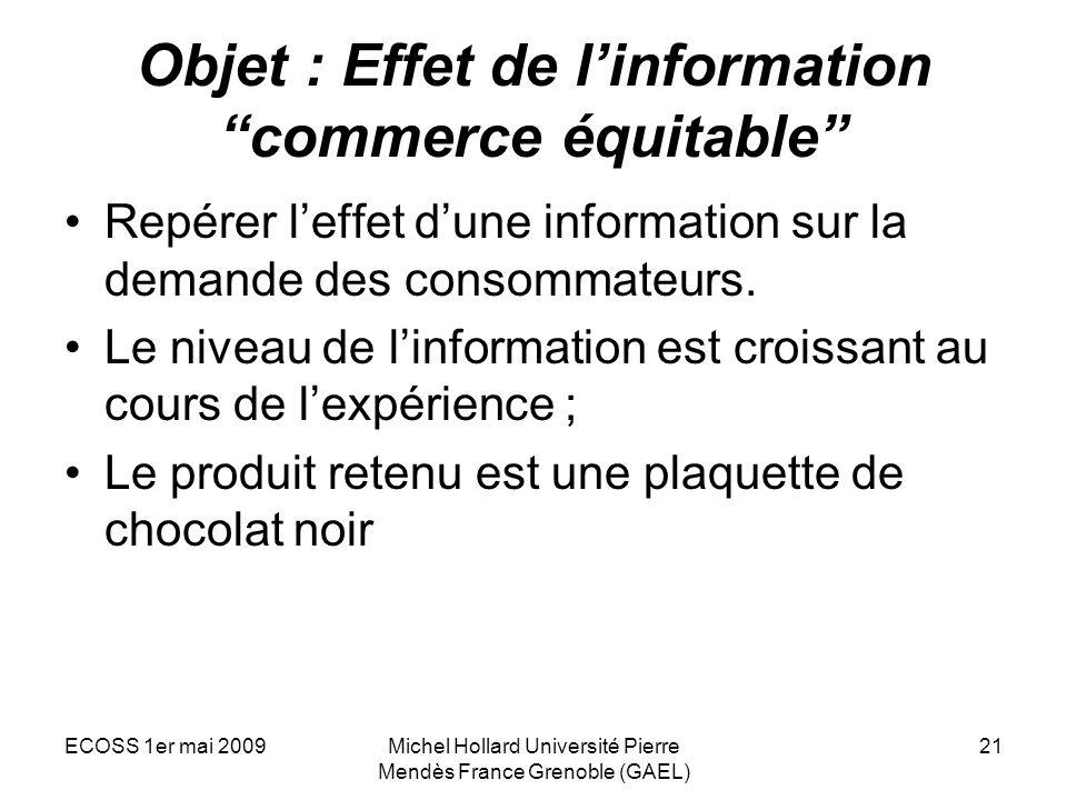 ECOSS 1er mai 2009Michel Hollard Université Pierre Mendès France Grenoble (GAEL) 21 Objet : Effet de linformation commerce équitable Repérer leffet du