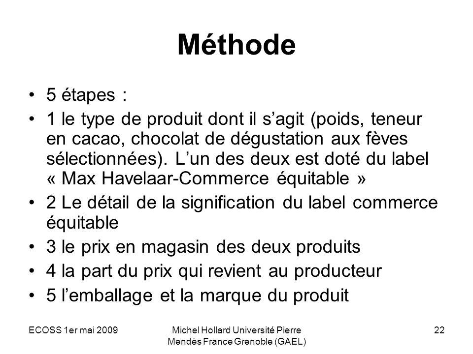 ECOSS 1er mai 2009Michel Hollard Université Pierre Mendès France Grenoble (GAEL) 22 Méthode 5 étapes : 1 le type de produit dont il sagit (poids, tene