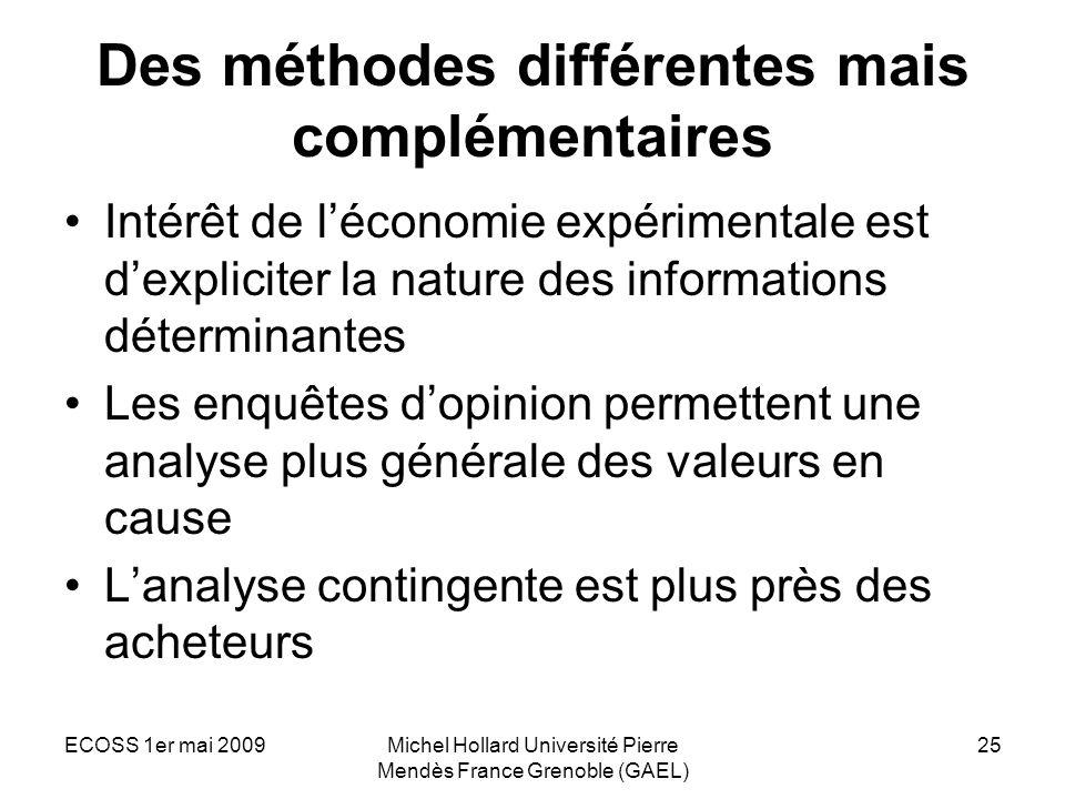 ECOSS 1er mai 2009Michel Hollard Université Pierre Mendès France Grenoble (GAEL) 25 Des méthodes différentes mais complémentaires Intérêt de léconomie