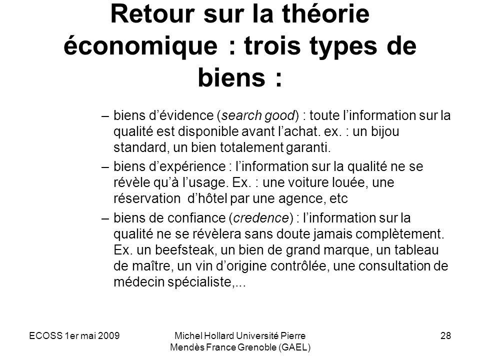 ECOSS 1er mai 2009Michel Hollard Université Pierre Mendès France Grenoble (GAEL) 28 Retour sur la théorie économique : trois types de biens : –biens d