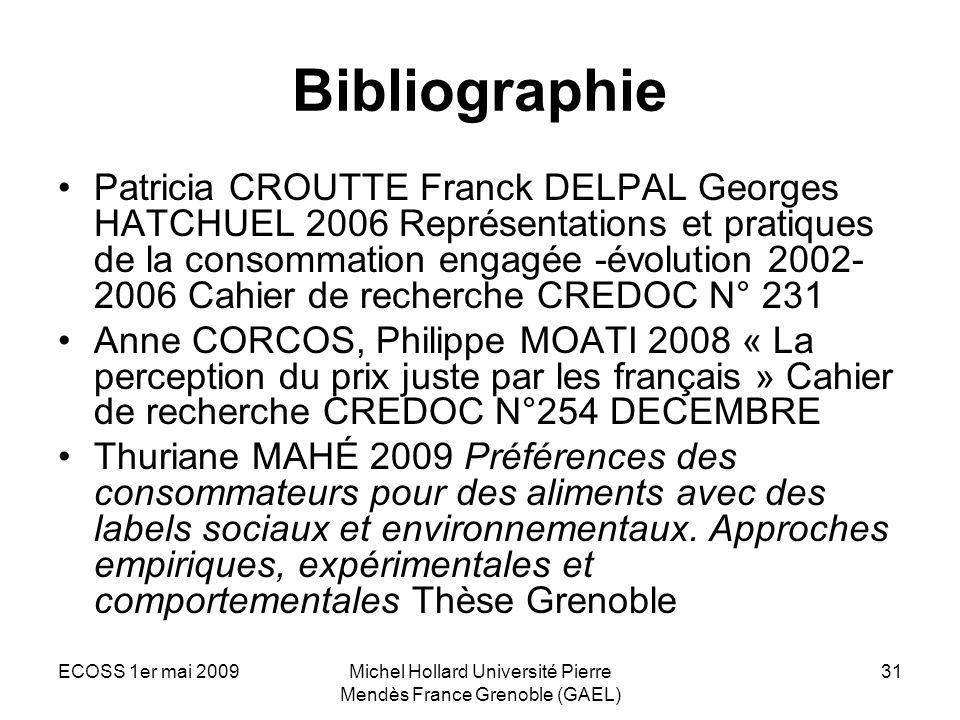 ECOSS 1er mai 2009Michel Hollard Université Pierre Mendès France Grenoble (GAEL) 31 Bibliographie Patricia CROUTTE Franck DELPAL Georges HATCHUEL 2006