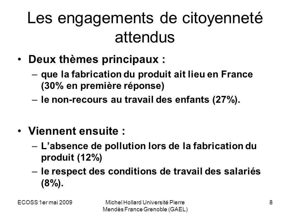 ECOSS 1er mai 2009Michel Hollard Université Pierre Mendès France Grenoble (GAEL) 8 Les engagements de citoyenneté attendus Deux thèmes principaux : –q