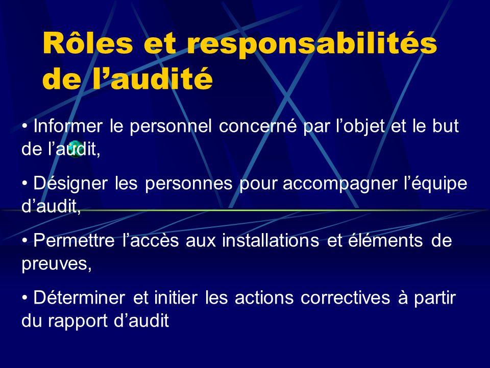 Rôles et responsabilités de laudité Informer le personnel concerné par lobjet et le but de laudit, Désigner les personnes pour accompagner léquipe dau