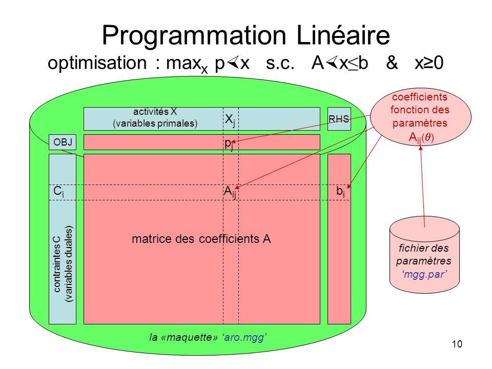 10 Programmation Linéaire optimisation : max x p x s.c. A x b & x0 X j matrice des coefficients A contraintes C (variables duales) p j activités X (va