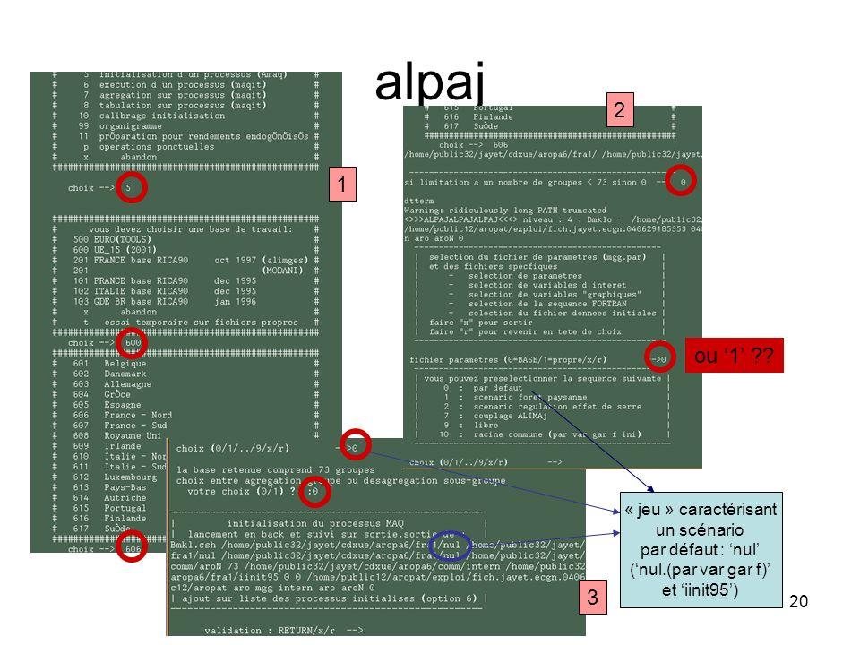 21 Niveau intermédiaire dappel Aaropa2.csh Appelle les commandes mggpl.csh et autoscic.csh dans les répertoires du calcul effectif (correspondant à../aropaj/arorgr$k) Autres options : par exemple écriture « ligne à ligne » dune matrice au format « MPS » lorsque le fichier est nommé mggf00000000$n.pl (n entier) sur un fichier nommé lignescic.liste (a priori, commande appelée à disparaître avec GAMS)