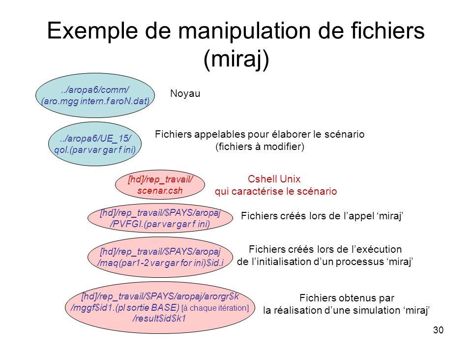 30 Exemple de manipulation de fichiers (miraj) [hd]/rep_travail/$PAYS/aropaj /PVFGI.(par var gar f ini)../aropa6/UE_15/ qol.(par var gar f ini) [hd]/r