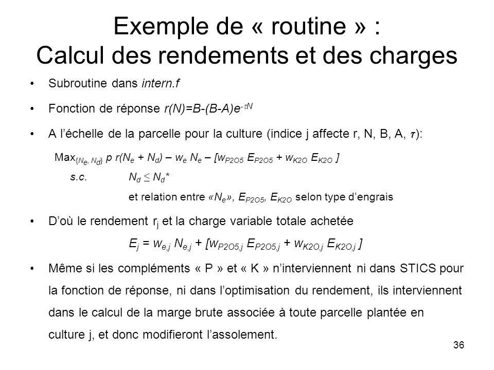 36 Exemple de « routine » : Calcul des rendements et des charges Subroutine dans intern.f Fonction de réponse r(N)=B-(B-A)e - N A léchelle de la parce