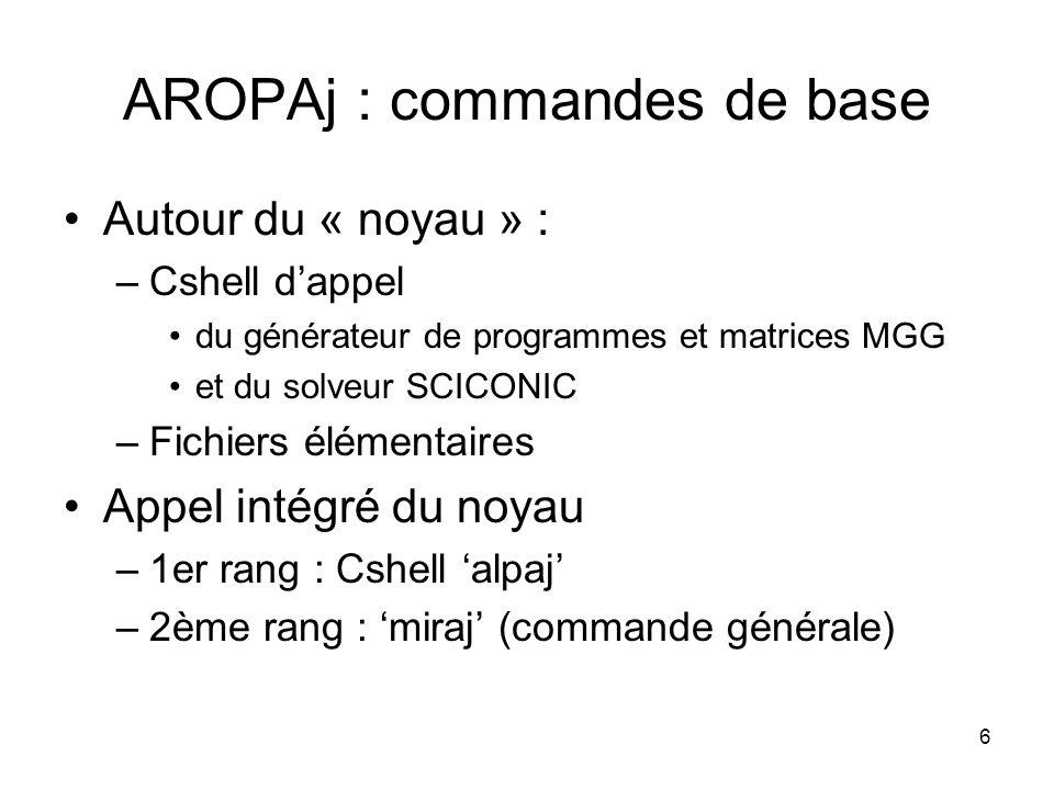6 AROPAj : commandes de base Autour du « noyau » : –Cshell dappel du générateur de programmes et matrices MGG et du solveur SCICONIC –Fichiers élément