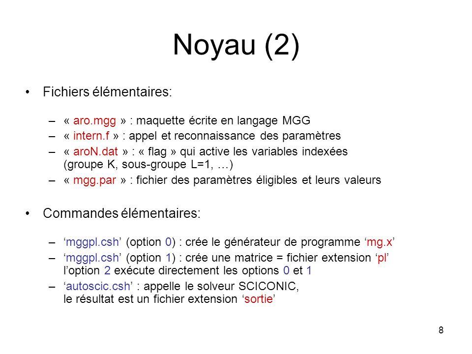8 Noyau (2) Fichiers élémentaires: –« aro.mgg » : maquette écrite en langage MGG –« intern.f » : appel et reconnaissance des paramètres –« aroN.dat »