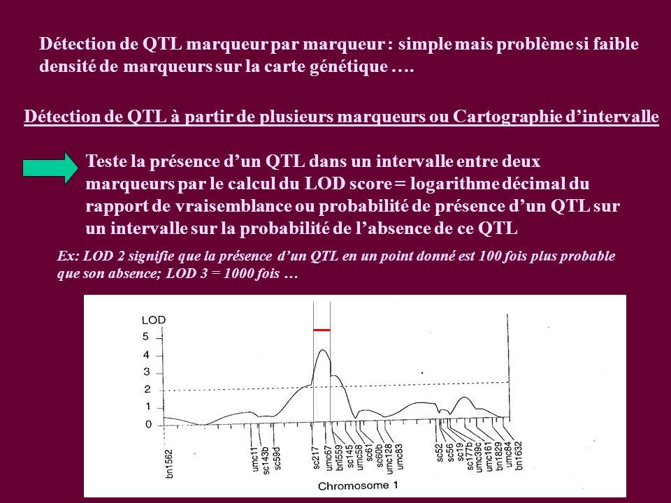 Détection de QTL marqueur par marqueur : simple mais problème si faible densité de marqueurs sur la carte génétique ….