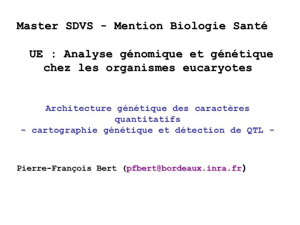 Master SDVS - Mention Biologie Santé UE : Analyse génomique et génétique chez les organismes eucaryotes UE : Analyse génomique et génétique chez les o