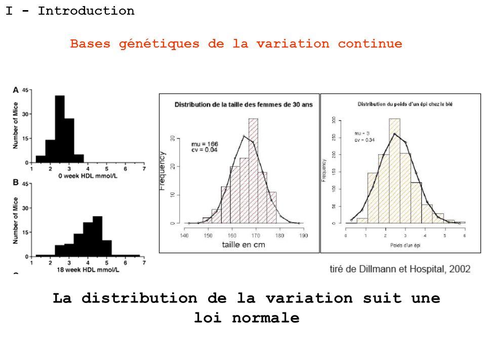 I - Introduction Bases génétiques de la variation continue La distribution de la variation suit une loi normale