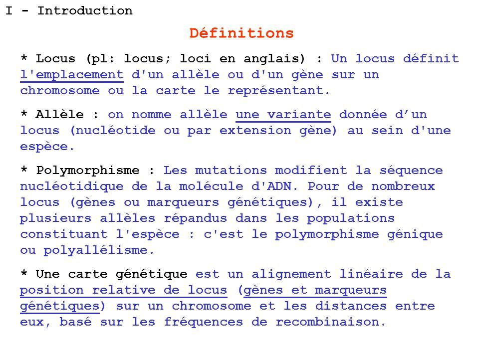 Définitions * Locus (pl: locus; loci en anglais) : Un locus définit l'emplacement d'un allèle ou d'un gène sur un chromosome ou la carte le représenta