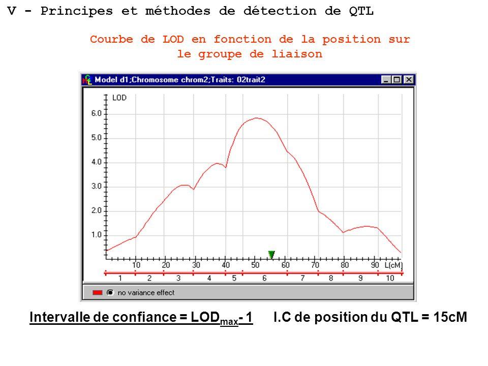 Courbe de LOD en fonction de la position sur le groupe de liaison I.C de position du QTL = 15cMIntervalle de confiance = LOD max - 1 V - Principes et