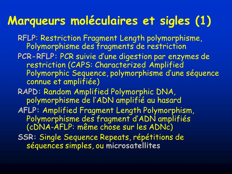 Marqueurs moléculaires et sigles (1) RFLP: RFLP: Restriction Fragment Length polymorphisme, Polymorphisme des fragments de restriction PCR-RFLP: PCR-R