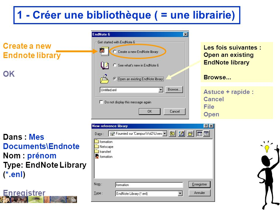 22/01/2008 1 - Créer une bibliothèque ( = une librairie) Dans : Mes Documents\Endnote Nom : prénom Type: EndNote Library (*.enl) Enregistrer Create a new Endnote library OK Les fois suivantes : Open an existing EndNote library Browse...