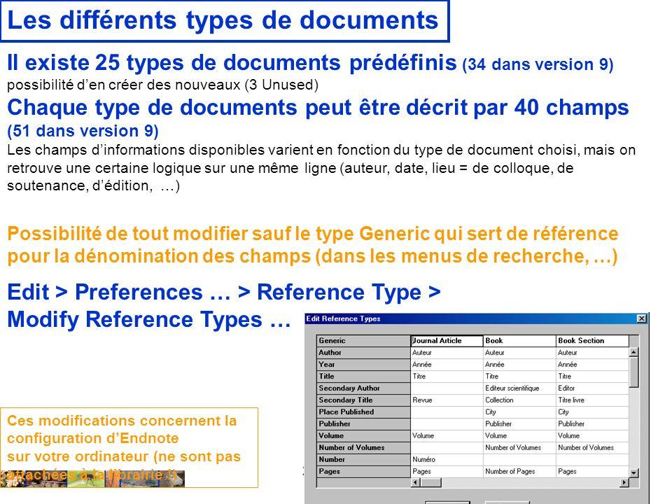 22/01/2008 Les différents types de documents Il existe 25 types de documents prédéfinis (34 dans version 9) possibilité den créer des nouveaux (3 Unused) Chaque type de documents peut être décrit par 40 champs (51 dans version 9) Les champs dinformations disponibles varient en fonction du type de document choisi, mais on retrouve une certaine logique sur une même ligne (auteur, date, lieu = de colloque, de soutenance, dédition, …) Edit > Preferences … > Reference Type > Modify Reference Types … Ces modifications concernent la configuration dEndnote sur votre ordinateur (ne sont pas attachées à la librairie !) Possibilité de tout modifier sauf le type Generic qui sert de référence pour la dénomination des champs (dans les menus de recherche, …)