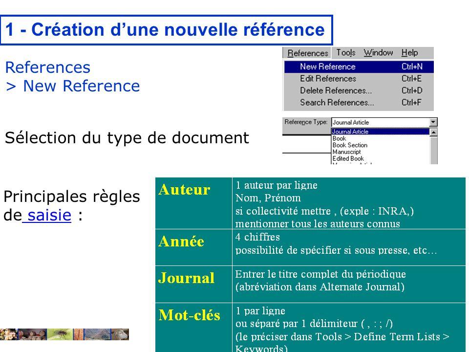 22/01/2008 1 - Création dune nouvelle référence References > New Reference Principales règles de saisie : saisie Sélection du type de document
