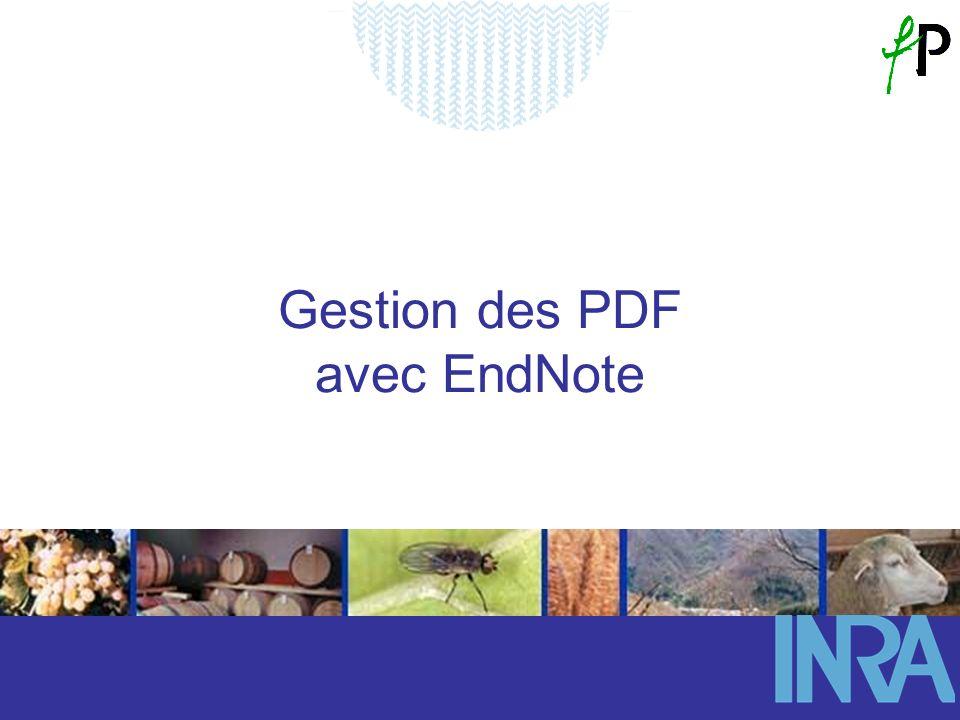 Gestion des PDF avec EndNote