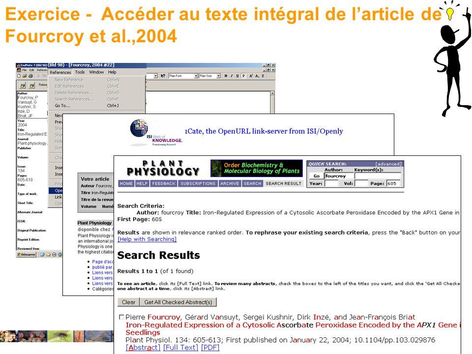 22/01/2008 Exercice - Accéder au texte intégral de larticle de Fourcroy et al.,2004