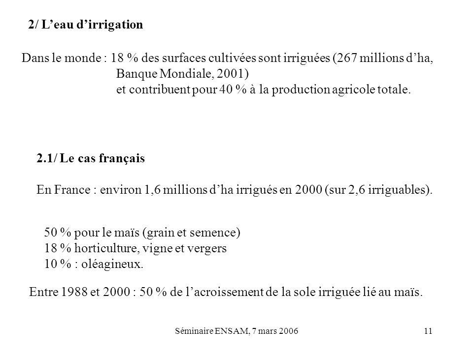 Séminaire ENSAM, 7 mars 200611 2/ Leau dirrigation Dans le monde : 18 % des surfaces cultivées sont irriguées (267 millions dha, Banque Mondiale, 2001