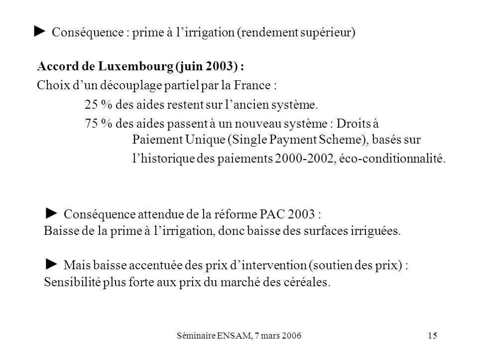 Séminaire ENSAM, 7 mars 200615 Accord de Luxembourg (juin 2003) : Choix dun découplage partiel par la France : 25 % des aides restent sur lancien syst