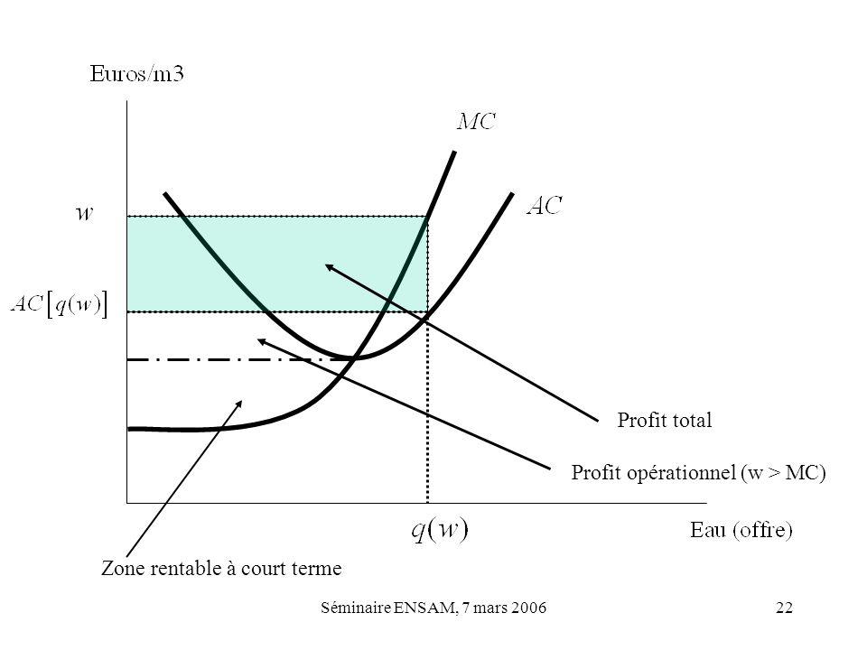 Séminaire ENSAM, 7 mars 200622 Profit total Profit opérationnel (w > MC) Zone rentable à court terme