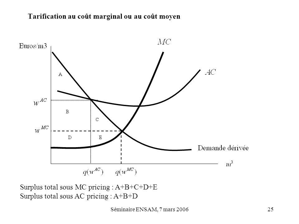 Séminaire ENSAM, 7 mars 200625 Tarification au coût marginal ou au coût moyen Surplus total sous MC pricing : A+B+C+D+E Surplus total sous AC pricing