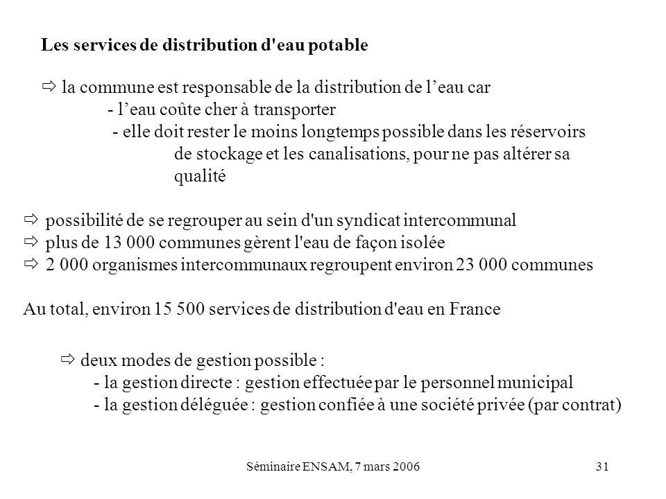 Séminaire ENSAM, 7 mars 200631 Les services de distribution d'eau potable possibilité de se regrouper au sein d'un syndicat intercommunal plus de 13 0