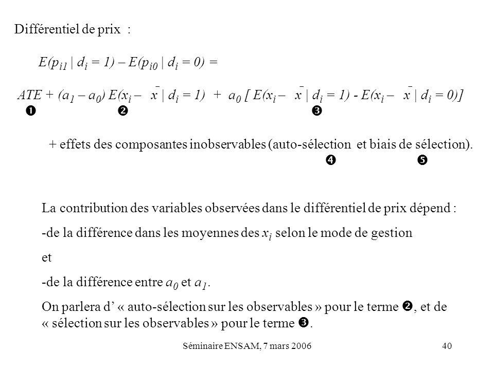 Séminaire ENSAM, 7 mars 200640 Différentiel de prix : E(p i1   d i = 1) – E(p i0   d i = 0) = ATE + (a 1 – a 0 ) E(x i – x   d i = 1) + a 0 [ E(x i –