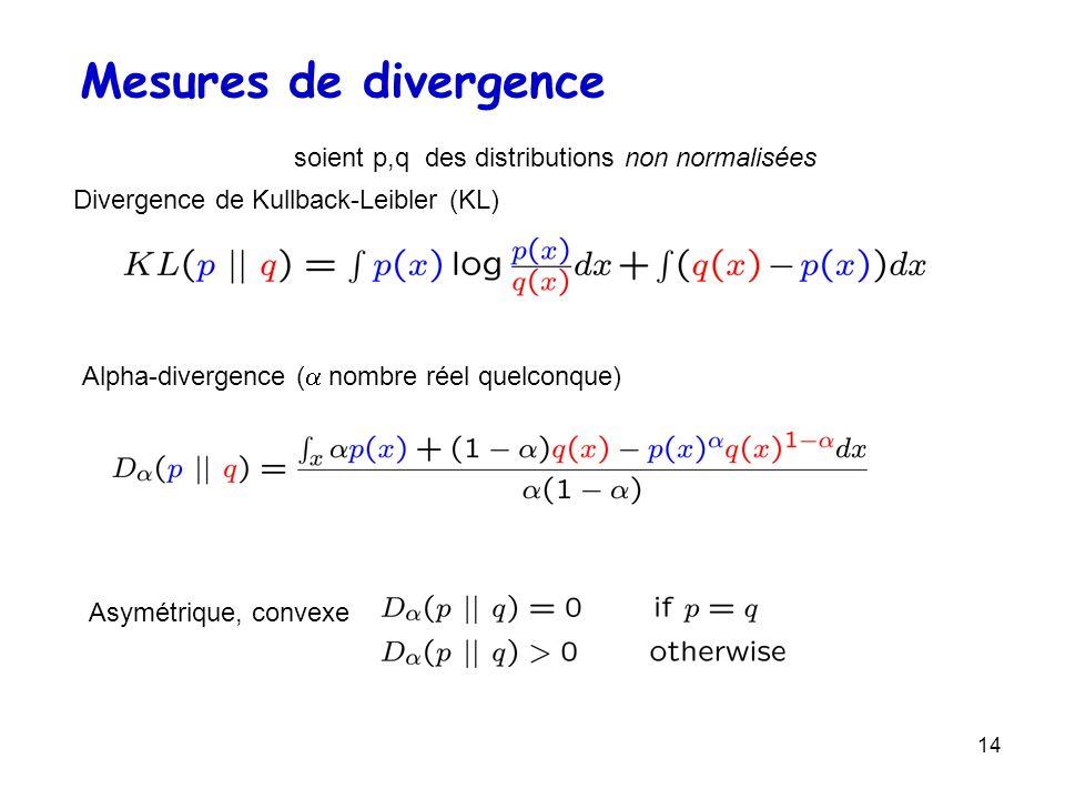 14 Divergence de Kullback-Leibler (KL) Mesures de divergence soient p,q des distributions non normalisées Alpha-divergence ( nombre réel quelconque) A