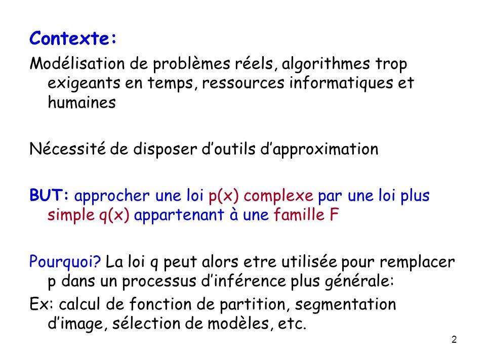 3 Les méthodes variationnelles Une famille de méthodes dapproximation où p complexe est remplacée par q dans F plus simple en minimisant la perte dinformation Souvent un problème peut-etre décomposer en sous problèmes: Stratégie de décomposition qui conduit aux algorithmes de passage de messages Algorithmes de passage de messages: une méthode locale, distribuée pour calculer q